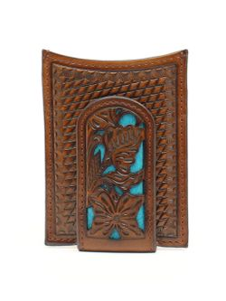 M&F Western Money Clip with Turquoise Floral Inlay