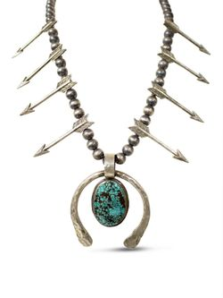 Richard Schmidt Sterling Silver & Turquoise Squash Blossom Necklace