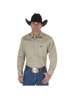 Men's Wrangler Pearl Snap Khaki Work Shirt