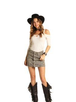 Ladies Panhandle Slim Leopard Denim Skirt