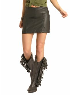 Ladies Rock & Roll by Panhandle Slim Cowgirl Faux Leather Skirt