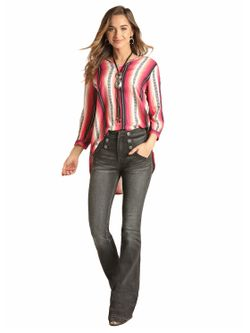 Ladies Rock and Roll by Panhandle Slim  Cowgirl Long Sleeve Tail Blouse