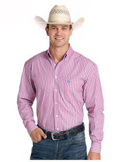 Men's Panhandle Slim Pink Stripe Long Sleeve