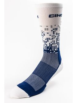 Men's Cinch White and Blue Digi Print Crew Socks