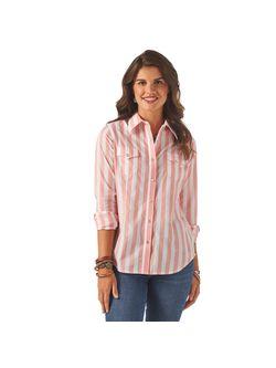 Ladies Wrangler Pink Stripe Long Sleeve Shirt