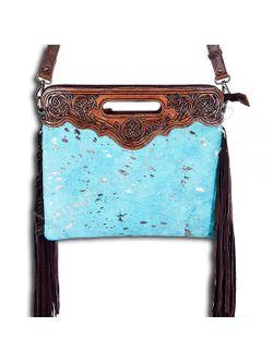 Ladies Acid Turquoise Fringe Clutch