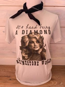 Ladies Its A Rhinstone World Dolly Tee Short Sleeve Shirt