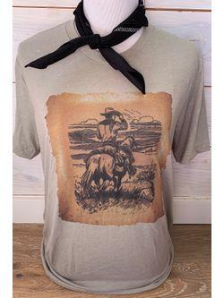 Ladies Burnt Paper Cowboy Tee Short Sleeve Shirt