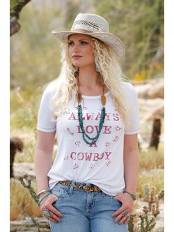 "WOMEN'S ""ALWAYS LOVE A COWBOY"" TEE"
