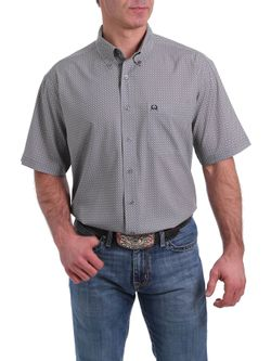 MEN'S SHORT SLEEVE ARENAFLEX BUTTON-DOWN SHIRT - GRAY, BLACK AND WHITE GEOMETRIC PRIN