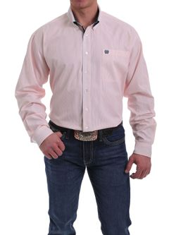 MEN'S PEACH AND WHITE STRIPED BUTTON-DOWN SHIRT