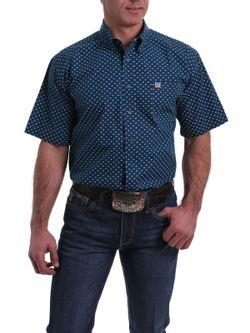 MEN'S SHORT SLEEVE NAVY, PEACH AND WHITE DIAMOND PRINT BUTTON-DOWN SHIRT