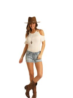 Ladies Pandhandle Slim Light Wash Cutoffs