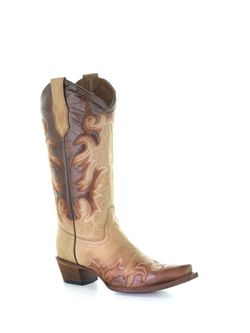 Ladies Corral Honey Chocolate Embroidery Snip Toe