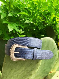 Men's Chacon Navy Lizard Belt