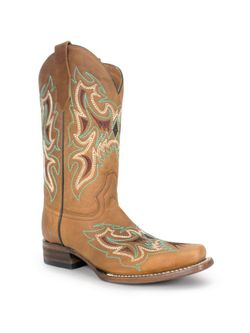 Ladies Corral Brown Embroidered Square Toe