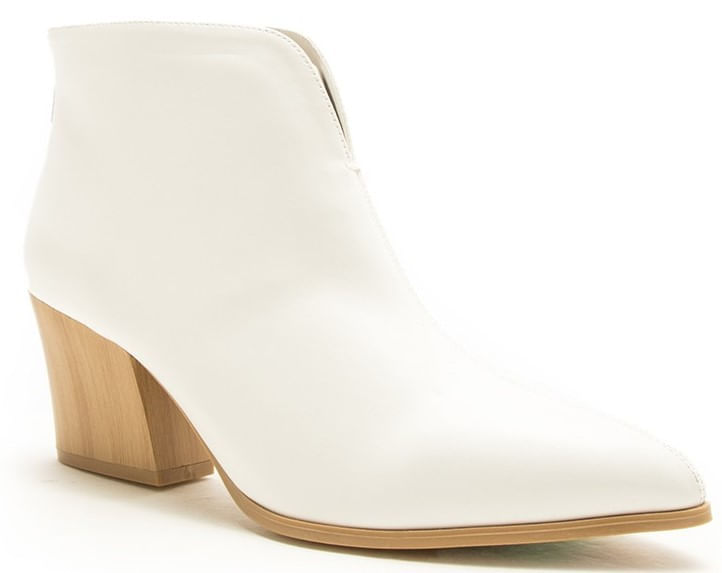 Ladies-White-V-Cut-Ankle-Bootie-241714
