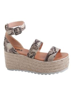 Ladies Snake Skin Print Platform Sandals