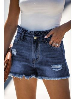 Ladies Denim High Waisted Cut Off Shorts