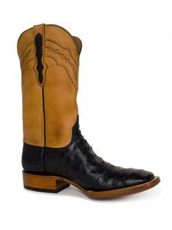Men's Black Jack Black Full Quill Ostrich Cowboy Boots