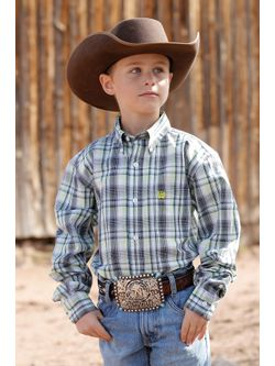 Kids Cinch White Plaid Long Sleeve