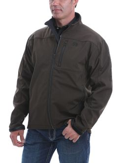 Mens Cinch Brown Textured Bonded Jacket