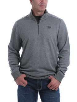 Mens Cinch 1/4 Zip Gray Sweater