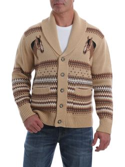 Mens Cinch Retro Cream Horse Sweater