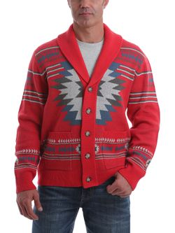 Mens Cinch Retro Red Aztec Sweater