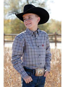 Kids Cinch Black Plaid Long Sleeve Shirt