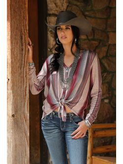 Ladies Striped Pink Knit Long Sleeve Shirt