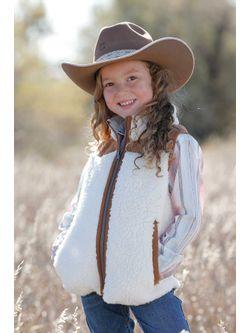 Girls Cinch Cream Sherpa Vest