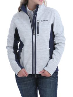 Ladies Cinch White Multi Bonded Jacket