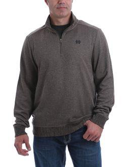 Mens Cinch 1/4 Zip Brown Pullover