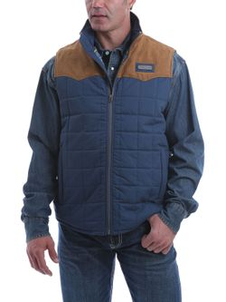 Mens Cinch Blue Color Blocked Vest