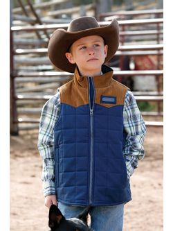 Boys Cinch Blue Quilted Vest