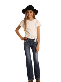 Girls Panhandle Aztec Pocket Dark Jean