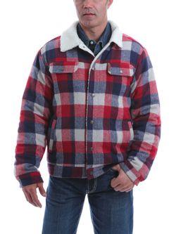 Mens Cinch Plaid Trucker Sheep Lined Jacket