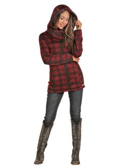 Ladies Panhandle Red Plaid Fleece