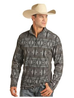 Mens Panhandle Gray Aztec Pullover