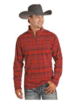 Mens Panhandle Red 1/4 Zip Aztec Pullover