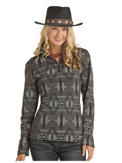 Ladies Panhandle Gray Aztec Pullover