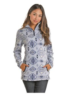 Ladies Panhandle Light Gray Aztec Pullover