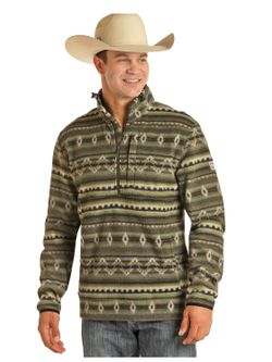 Mens Panhandle Green Aztec Fleece