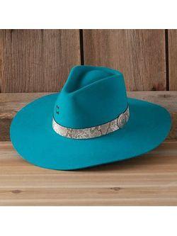 Ladies Charlie One Horse Sidewinder Turquoise Wool Hat