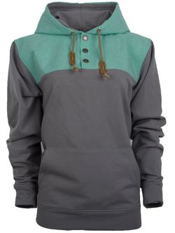 Ladies STS Ryland Grey Turquoise Pullover