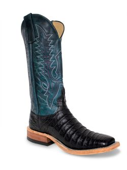 Mens Anderson Bean Teal Top Black Caiman Belly  Cowboy Boots