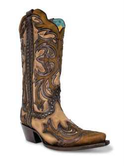 Ladies Corral Brown & Black Laser Inlay