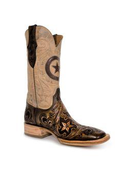 Black Jack Hand Tooled Dark Brown Star Inlay Cowboy Boots