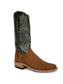Mens Olathe Peanut Carpincho Green Velvet Cowboy Boots